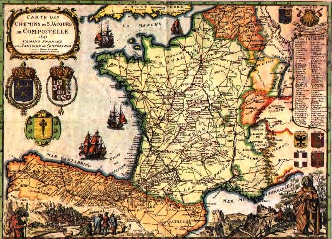 1600's Map showing Camino Routes