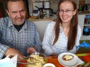 Erkki, Veera, Karjalanpiirakka and Egg butter